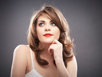 Woman portrait with curler hair Royalty Free Stock Photo