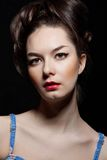 Woman portrait on dark background royalty free stock images