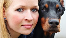 Woman, Portrait, Dog, Hobby, Pet Royalty Free Stock Images