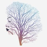 Woman portrait with double exposure, face and tree. Woman portrait with double exposure, face profile silhouette and autumn tree branches. Vector vector illustration