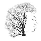 Woman portrait with double exposure, face and tree. Woman portrait with double exposure, face profile silhouette and autumn tree branches. Vector stock illustration