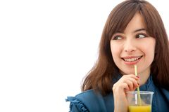 Woman portrait drinking Royalty Free Stock Photo