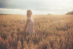 Woman portrait in a field Royalty Free Stock Image