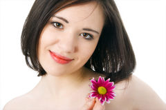 Woman portrait with flower chrysanthemum Stock Photo