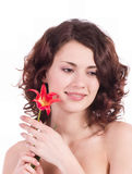 Woman portrait with flowers Royalty Free Stock Image