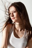 Woman portrait with flying hair Stock Images