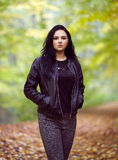 Woman portrait in the forest Stock Images