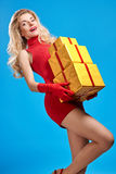Woman portrait with gifts boxes smiling. Christmas Royalty Free Stock Image