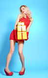 Woman portrait with gifts boxes smiling. Christmas Royalty Free Stock Photos