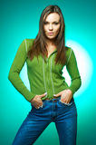 Woman portrait on Green Royalty Free Stock Image