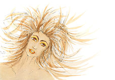 Woman portrait with hair blowing in the wind Stock Photo