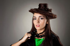 Woman portrait in hair style like hat Royalty Free Stock Photos
