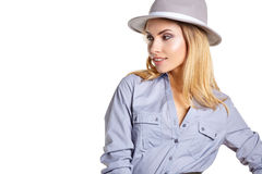 Woman portrait in hat hipster Stock Photos