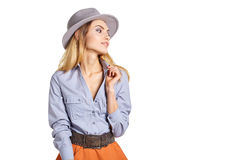 Woman portrait in hat hipster Stock Images