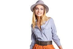 Woman portrait in hat hipster Royalty Free Stock Photography