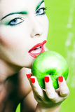 Woman Portrait Hold an Apple Royalty Free Stock Photo