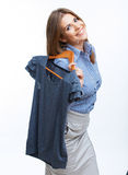 Woman portrait hold casual clothes Stock Photo