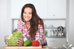 Woman portrait in home kitchen Royalty Free Stock Photos