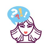 Woman portrait icon with speech bubble, question and exclamation mark Royalty Free Stock Photos