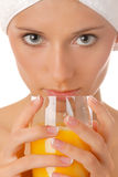 Woman portrait with juice Stock Photo