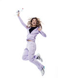 Woman Portrait Jump cheerful Stock Photos