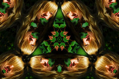 Woman portrait kaleidoscope Stock Photos