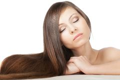 Woman portrait with long hair Stock Photo