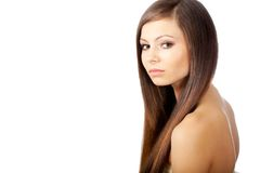 Woman portrait with long hair Stock Image