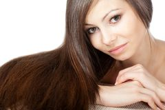 Woman portrait with long hair Stock Images