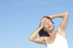 Woman portrait menopause and headache Royalty Free Stock Photo