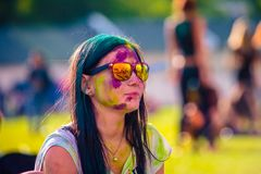 Free Woman Portrait On Holi Festive Royalty Free Stock Images - 110404369