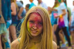 Free Woman Portrait On Holi Festive Stock Images - 110404384