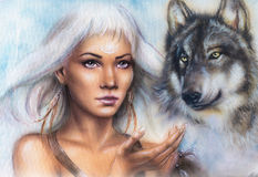 Woman portrait with ornament tattoo on face with spiritual wolf and feathers jewelry. Painting. Stock Photos