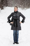 Woman portrait outdoors in winter Royalty Free Stock Photos