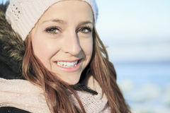 A woman portrait outside in winter season Royalty Free Stock Photo