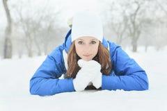 A woman portrait outside in winter season Royalty Free Stock Photo