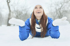 A woman portrait outside in winter season Royalty Free Stock Images