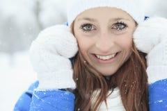 A woman portrait outside in winter season Royalty Free Stock Photos