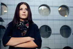 Woman portrait over wall Stock Images