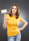 Woman portrait with paint brush Stock Image