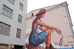 Woman portrait painted on the wall. Royalty Free Stock Image