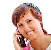 Woman portrait on the phone Royalty Free Stock Photos