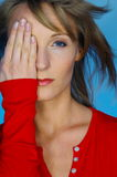 Woman portrait with red blouse. Blond woman portrait with red blouse Stock Photo