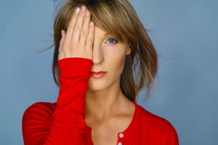 Woman portrait with red blouse. Blond woman portrait with red blouse Stock Images