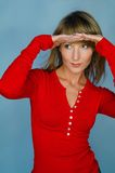Woman portrait with red blouse. Blond woman portrait with red blouse Royalty Free Stock Images