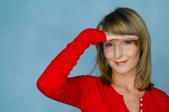 Woman portrait with red blouse Royalty Free Stock Photography