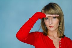 Woman portrait with red blouse Stock Images