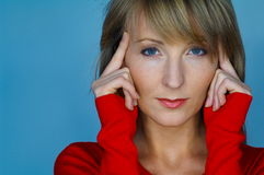 Woman portrait with red blouse. Blond woman portrait with red blouse Royalty Free Stock Photos