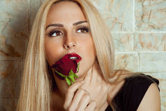 Woman portrait with red rose. Young woman portrait with a red rose . Horizontal Photography stock photo