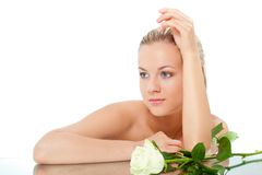 Woman portrait with rose Royalty Free Stock Photo